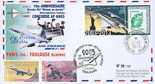 """FDC """"10 ans Dernier Vol CONCORDE Air France Retour au Musée Paris-Toulouse"""" 2013"""