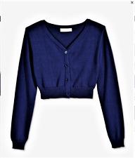 Bonnie Jean Girls Buttoned Crop Cardigan Sweater Navy Size L