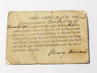 1814 Corby Castle Henry Howard Fishing Permit Licence Cumbria HENS TEETH #CCB