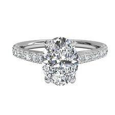 14K White Gold Ring Valentine's Gift 1.30 Ct Oval Cut Diamond Rings Real