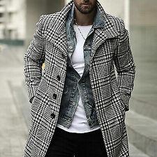 Fashion Men Winter Warm Overcoat Check Lapel Single Breasted Outwear Long Jacket