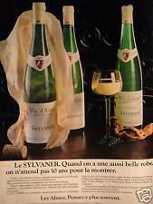 PUBLICITÉ 1981 LE SYLVANER VIN D'ALSACE - ADVERTISING