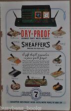 1936 SHEAFFER PEN advertisement, desk sets, pen holders, retro clock-radio