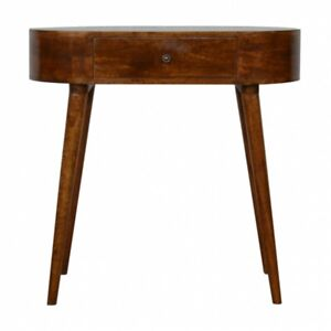 Mid Century Rounded Console Table / Dressing Table - Solid Wood Dark Finish