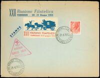 6/21/1953 Italy, RIUNIONE FILATELICA, VIAREGGIO, Stagecoach Label, More!