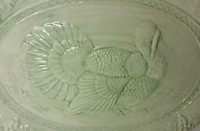 """LARGE GREEN EMBOSSED TURKEY PLATTER - 14 1/4"""" X 18 5/8"""" - MADE IN PORTUGAL"""