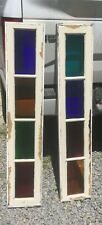 """Pair Antique Color Stain Glass Entrance Door Sidelight 10""""x51"""" window"""