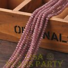 New 100pcs 4X3mm Rondelle Faceted Loose Spacer Glass Beads Bulk Jade Purple