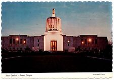 Salem Oregon State Capitol Postcard Dusk Lights Marble Structure Vtg Unposted