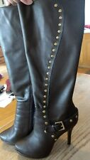 Used Fall Winter High Heel Dallas boots from Shoedazzle Fierce Brown Studs SZ 8