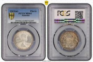 Australia silver 1962 m florin pcgs ms64 beautiful toned reverse