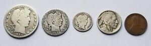1914 BIRTH YEAR MINT SET 5 COINS SILVER NICE!