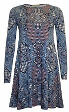 Womens  Printed Swing Dress Ladies Tartan Aztec Check Print Flared Swing Skater
