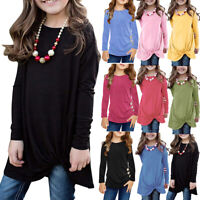 Casual Teen Kids Girls Casual Long Sleeve Solid Tops Knot Front Blouse T-Shirt