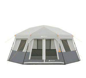 Ozark Trail 8-Person Instant Hexagon Cabin Tent, Easy Set Up Poles Pre-attached