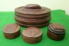 BEAUTIFUL SET OF 4 BROWN TOOLED LEATHER BOXES ON WOOD FRAMES (EX AFRICA) – VGC