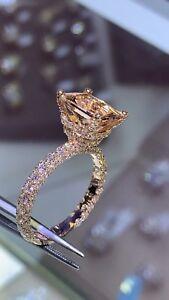 2.55Ct Princess Cut Morganite Solitaire Engagement Ring In 14K Rose Gold Finish