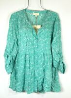 New Cynthia Rowley Plus Size 1X Green Mini Floral Print Boho Top Blouse Shirt