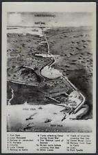 EGYPT 1951 AIR MAIL POST CARD MAP THE LENGTH OF THE SUEZ CANAL SHOWING HISTORICA