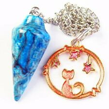 SH3737 Blue Crazy Lace Agate Pendulum Dripping Oil Cat Pendant Bead