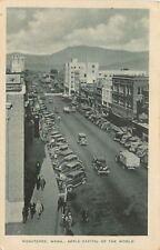 Wenatchee WA Truckload & NICE 1930s Cars~Cafe, The Owl, Shoe Billboard~Postcard