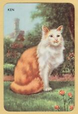 1 Single VINTAGE Swap/Playing Card EN CAT IN THE GARDEN 'KEN KE-2-1-B' LINEN