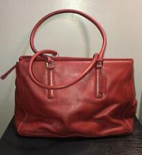 Vintage Coach Red Leather Shoulder Bag Tote
