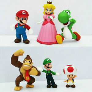 Super Mario Brothers Cake Topper Action Figure Doll Toy Play Set 6 Pieces *USA*