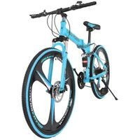 26in 21-Speed Folding Mountain Bike Bicycle Full Suspension MTB Foldable Bikes