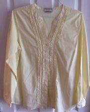 NWOT ORVIS Long Sleeve Yellow White Stripe V Be K Button Front Blouse Sz 14
