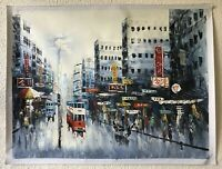 "Asian Abstract Expressionist Painting ""STREET SCENE, HONG KONG"" China PAINTING"