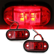 "Red LED 2.5"" 2 Diode Light Oval Clearance Trailer Car Truck SUV Side Marker Lamp"