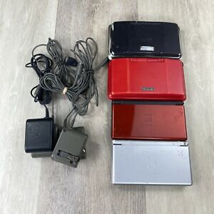 Lot of 4 Broken Nintendo DS and DS Lite - Consoles for Parts w/ chargers