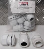 10X SWA  WHITE Polyamide PLASTIC CABLE GLANDS M25X1.5