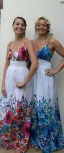 Ladies Summer Dress Floor Length Blue/White - Pink/White Floral Design