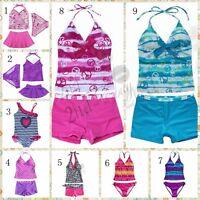 Girl Swimsuit Tankini Set Swimwear Seaside Sunglasses Bathing Suit Biniki 2-16Y