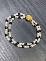 "Ladies White Irregular Freshwater Pearl Black onyx  Crystal Beaded Bracelet 7.5"""