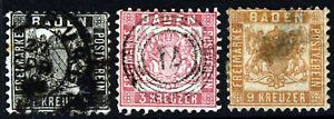 BADEN GERMANY 1862-65  1kr, 3kr & 9Kr Values Perf.10  SG 27, SG 28 & SG 32