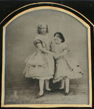 STEREOVIEW AMBROTYPE YOUNG SISTERS IN AFFECTIONATE POSE. RARE.