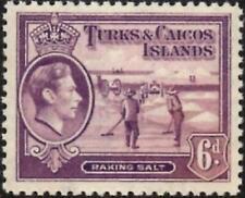 Turks & Caicos Islands 1938 KGVI  6d Mauve   SG.201  Mint (Hinged)