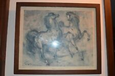 """CHARGERS"" BY  DENES DE HOLESCH 2 prancing horses 1958 famous artist 16"" by 20"""