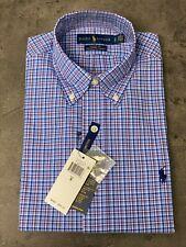 NEW Polo Ralph Lauren Mens Sz S Button-down Poplin Shirt CLASSIC FIT Blue Plaid