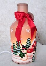 Brown Jug Christmas Winter Snow Scene Red Bow ELECTRIC Illuminated Table Light