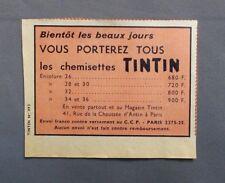 PUB PUBLICITE ANCIENNE ADVERT CLIPPING 021017 / CHEMISETTES TINTIN BIENTOT LES B
