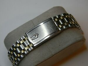 """VINTAGE BULOVA ACCUTRON JB CHAMPION GOLD STAINLESS MENS WATCH BAND 6"""" 17mm USED"""