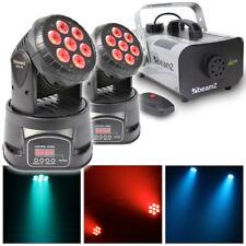 More details for pair wash moving head lights dj disco dmx 10w quad leds + smoke fogger machine