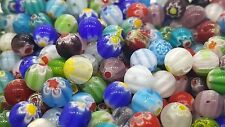 25 x 8MM Assorted Mixed Millefiori Round Beads - A5034