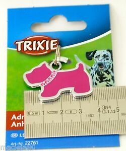 TRIXIE DOG SHAPED Address Tag ID Pet WRITE CONTACT DETAILS Pink with RHINESTONE