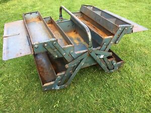 VINTAGE TALCO 5 Tier Cantilever Blue Metal Tool Box on Castors Made In Britain