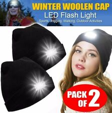 2X Beanie Hat With 5 LED  Battery High Powered Head Lamp Light